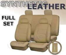 Car Seat Covers Beige Tan PU Synth Leather 4 headrests Steering Wheel Set CS6