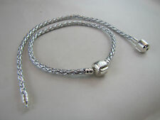 19cm SP PRETTY SILVER BRAIDED LEATHER CHAINS FOR EUROPEAN STYLE CHARM BRACELETS