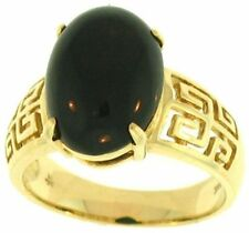 Natural Black Nephrite Jade Oval Stone Ring w/14K Yellow Gold 'Key' Design Shank