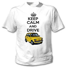 MALUCH POLISH FIAT 126 P KEEP CALM AND DRIVE - WHITE COTTON TSHIRT
