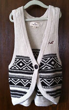 EUC Hollister Women's Medium Sweater Vest Navajo Print Single Button