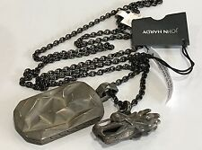 John Hardy Men's Darkened Silver Naga Dragon Tag Pendant Necklace  nwt $695 28""