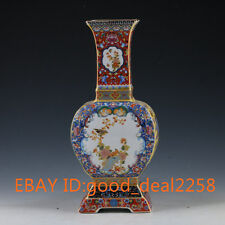 Chinese Handwork Paint Cloisonne Flowers & Birds Porcelain Vase W YongZheng Mark