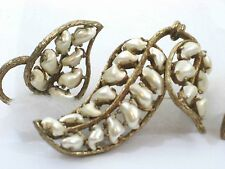 R. DeRosa Vintage Brooch & Earring Set Textured Gold with Mother of Pearl Leaves