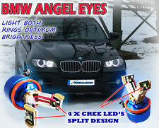 40w 4 x CREE Split DESIGN ALUMINIUM ANGEL EYE HALO RINGS BRIGHTEST BLUE TINT H8