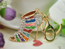 KC165 Multicolor High-heeled Shoes Keyring Women Rhinestone Key Bag Chain Gift