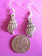#84 ,SMALL CONCH SHELL, Tibet Silver CHARM earrings/ Hooks Stamped 925 s/s