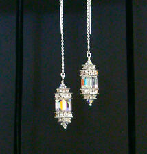 STERLING SILVER Ear Threads Threaders w/SWAROVSKI CRYSTAL AURORA BOREALIS CUBES