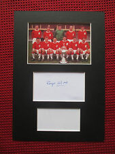 LIVERPOOL 60s LEGEND ROGER HUNT HAND SIGNED A4 MOUNTED CARD & PHOTO DISPLAY- COA