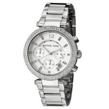 New Michael Kors Parker Silver Chronograph Women's Glitz Stainless Watch MK5353
