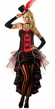 Burlesque Moulin Rouge Fancy Dress Costume Can Can Girl Dance Outfit Hat & Glove