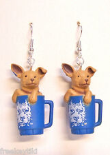 "Tan Toy Tea Cup Chihuahua Dogs 1"" Hood Hounds Figures Figurines Dangle Earrings"