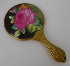 Antique Art Deco Hand Mirror Ornate Brass Handle Hand Painted Rose On Porcelain