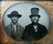 ANTIQUE AMERICAN FATHER SON TOP HAT ARTISTIC 6TH CIVIL WAR ERA AMBROTYPE PHOTO