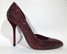 GUCCI Dress Heel Pump Crystal Stud Burgundy Red 309868 35 5