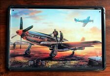 """America WWII Fighter Plane """"Hurry Home Honey"""" Tin Sign Metal Wall Decor Display"""