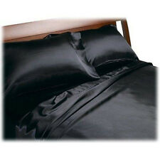 4Pcs Soft Silk~Y Polyester Satin Lingerie Bed Sheets Set QUEEN BLACK