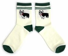 LADIES CUTE FRENCH BULLDOG GREEN TRIMMED SOCKS UK SIZE 4-8 EUR 37-42 USA 6-10