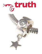 Genuine TRUTH PK 925 sterling silver dangle sparkle star European charm bead