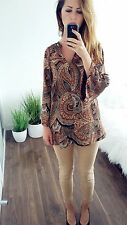 ZARA PAISLEY PATTERN ETHNIC BOHO TUNIC BLOUSE TOP SHEER S