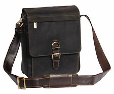 Unisex real leather messenger shoulder bag brown vintage cross body travel work