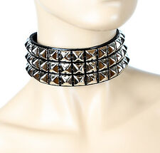 Patent Leather Three Row Stud Collar Wide Fetish Sexy Goth Metal Style Punk
