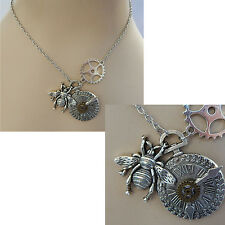 Steampunk Bumble Bee & Watch Pendant Necklace Jewelry Handmade NEW Cosplay