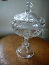 EAPG MODEL FLINT 1890s  ANTIQUE CLEAR GLASS LARGE LIDDED COMPOTE - EIGHT-O-EIGHT