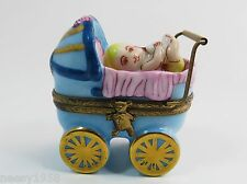 Limoges ~ Peint Main ~ Baby Buggy/Carriage Trinket/Pill Box ~ Signed A.L.