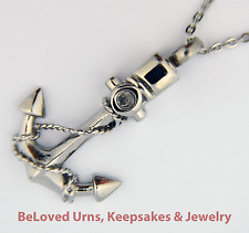 """Stainless Steel Anchor Cremation Jewelry Pendant Keepsake Urn with 20"""" Necklace"""