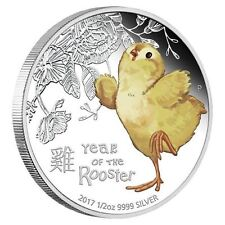 2016 Tuvalu BABY Rooster 1/2 oz SIlver Proof 50c Coin Lunar Year Colorized