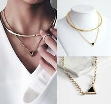 Punk Gothic Vintage Women Gold Geometric Triangle Alloy Collar Choker Necklace