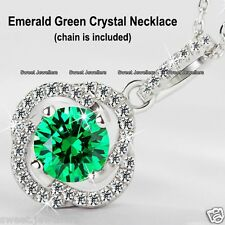 925 Silver Emerald Green Crystal Round Necklace - Xmas Gifts For Her Wife Women