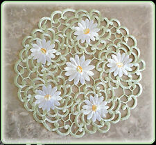 """IVORY PEDALS & SAGE Lace 11"""" Doily  Flower Daisy"""