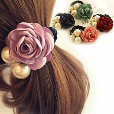 Elastic Rubber Band Pearls Rose Hair Band Rope Scrunchie Ponytail Holder Pink UK