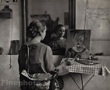 1926/72 Vintage 11x14 MISS GUNVOR BERG Artist Painter Mirror Photo ANDRE KERTESZ