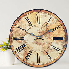 Vintage Style Wall Clock Kitchen Home World Map Globe Rustic Clocks Bedroom 34cm