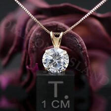 2.5 Ct Round Brilliant Cut 14K Yellow Gold Solitaire Pendant Necklace Chain 16""