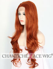 Women Lace Front Wig UK Synthetic Hair Orange Long Natural Wavy Heat Friendly 24