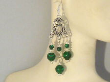 Gemstone Earrings - Malachite w/ 925 Sterling Silver - green chandeliers / drops