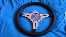 "MOTO-LITA 14"" MK4 POLISHED  LEATHER FLAT THIN SLOT  CLASSIC STEERING WHEEL"