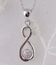 Infinity Symbol Pendant Necklace Cubic Zirconia 925 Sterling Silver New