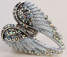Angel Wings Stretch Ring Crystal Rhinestone Fashion Bling Jewelry Silver AB RD01