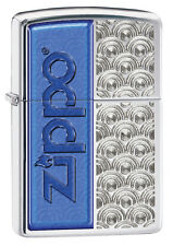 Zippo High Polished Chrome With Blue Enamel Lighter,  # 28658, New In Box