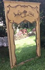 Ornate Antique Hand Carved Wood  Italian TRUMEAU Mirror.  Old Chippy Paint