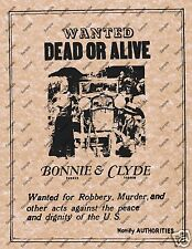 WANTED DEAD OR ALIVE BONNIE AND CLYDE POSTER Robbery Murder Criminal 009