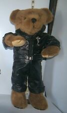 "Animated Dancing 18"" Teddy Bear ""Elvis Presley"" in Black Leather Jump Suit"