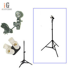 Photo Studio kit 4in1 E27 Socket + Single Lamp Bulb Holder + 220cm light stand