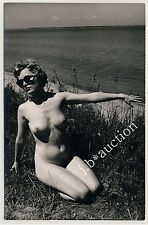 #35 rössler Akt foto 14 x 9 nude woman study * vintage 50s Outdoors real photo pc