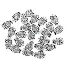 25x Tibetan Silver Beads Bracelet Pendant for Jewelry Making DIY Crafts-Owl